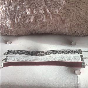 3 x thick chokers (burgundy, black & white) NEW